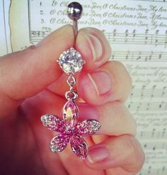 $13.99 PINK Crystal Flower Dangle Belly Button/Navel Ring. | eBay