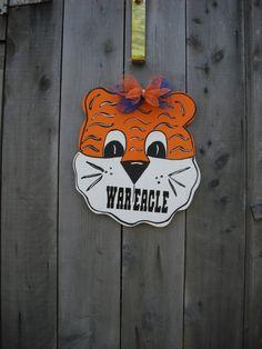 Auburn tigers, Football gender reveal,  Sports, nursery decor, Football fans,  War Eagle fans, Sports door hanger,  Tigers,   Auburn Baby