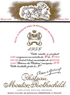 The 1958 Chateau Mouton Rothschild wine label by: Salvador Dali