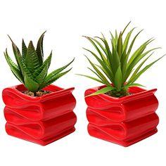 MyGift® Set of 2 Modern Decorative Folded Design Small Ceramic Plant Pot / Flower Planter - Red