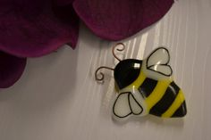 Bumble Bee Pin, Brooch, Fused Glass, Brooch Pin, Hand Painted, Gardeners Gift, Bee Keepers Gift by PurpleSlugGlassArt on Etsy