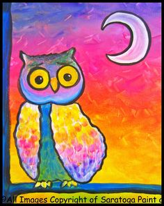 HOOTIE HOOT at Saratoga Paint and Sip Studio—we love this sweet little owl!