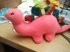 My funny looking Dinosaur ~made from Little Black Teapot's 'Plush Dinosaur with Sewing Pattern'.