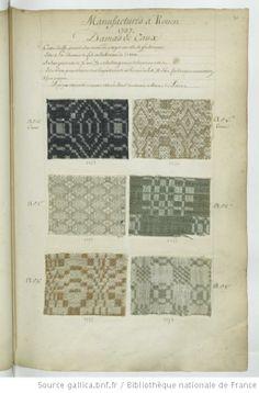 * Manufactures à Rouen // 1737 // Damas de Caux - Echantillons d'étoffes et de rubans recueillis par le Maréchal de Richelieu