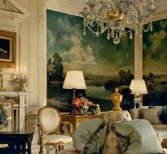 Love that mural as a focal point. Beautiful chandelier. All so elegant...