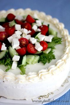 Sandwich Cake with Greek Flavors Finnish Recipes, Sandwich Cake, Sandwiches, Salty Foods, Savoury Baking, Salty Cake, Edible Food, Savory Snacks, Finger Foods