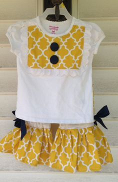 Girls Ruffle pants and Bib tee - 18 months Mustard Quatrefoil on Etsy, $32.00