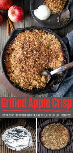 Grilled Apple Crisp - Vindulge How to make Apple Crisp on a grill! Including instructions for a charcoal grill, gas grill, or pellet grill. Grilled Apple Crisp is a great dessert for Thanksgiving! Great Desserts, Dessert Recipes, Desserts On The Grill, Dinners On The Grill, Camping Desserts, Grill Dessert, Dessert For Bbq, Apple Crisp Topping, Pellet Grill Recipes