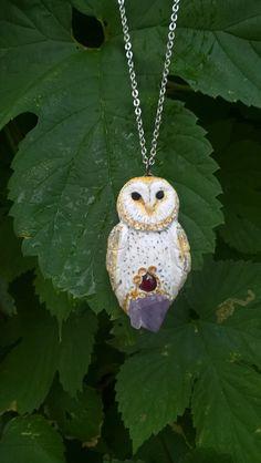 RESERVED FOR ALLISON - Realistic Barn Owl Animal Spirit Talisman on amethyst with garnet