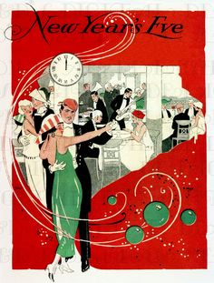 A fab illustration of a New Years Eve party! Perfect for invitations! The image is perfect for framing, cards, bookmarks, scrap-booking--the possibilities are amazing. Vintage Christmas Cards, Retro Christmas, Vintage Holiday, Christmas Art, Vintage Cards, Christmas And New Year, Xmas, Retro Poster, Vintage Posters