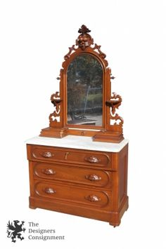 Antique Eastlake Dresser Ornate Solid Walnut Wood Marble Top