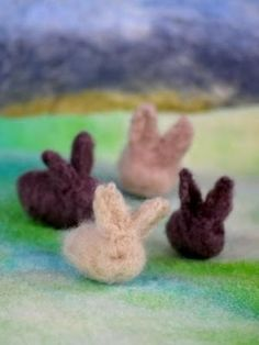 Needle Felted Fleece Rabbit bunnies - Waldorf Easter display
