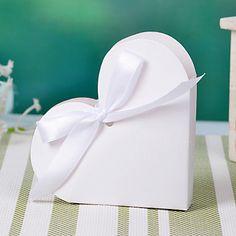 Καρδιά Σχεδιασμός Box εύνοια White Ribbon Με Bowknot (σετ των 12) – EUR € 2.12