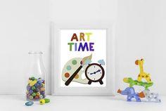 "Artist palette illustration and bold rainbow font ""ART TIME"" is perfect for your DIY Daycare Playroom Wall Decor, Font Art, Kids Room Art, Preschool Art, School Classroom, Diy Art, Printable Wall Art, Wall Art Prints, Diy Gifts"