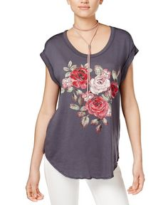 83a1e0767978d Embroidered Rose Print T-Shirt Carbon Copy