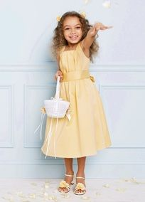 Tank strap cotton sateen dress with self tie bow in back, t-length skirt.   Sizes 2T-14 are available in all colors.  All colors are only available in 2T-8.  Available in our exclusive 20 color palate.