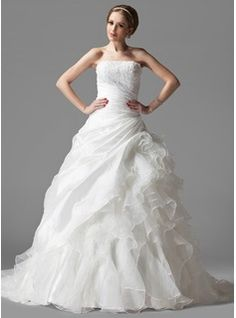 Wedding Dresses - $285.99 - Ball-Gown Strapless Chapel Train Taffeta Organza Wedding Dress With Lace Cascading Ruffles  http://www.dressfirst.com/Ball-Gown-Strapless-Chapel-Train-Taffeta-Organza-Wedding-Dress-With-Lace-Cascading-Ruffles-002004523-g4523