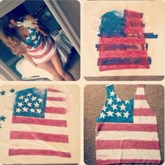 American flag shirt DIY. did this for fourth of july this year and fringed the bottom