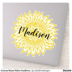Sunflower Flower, Yellow Sunflower, Flower Mandala, Cute Laptop Stickers, Funny Stickers, Decorated Water Bottles, Vinyl Sheets, Personalized Stickers, White Ink