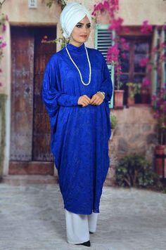 Aişe Tesettür - Saks Mavi 3 Boyutlu Tesettür Tunik Dresses, Fashion, Vestidos, Moda, Fashion Styles, Dress, Fashion Illustrations, Gown, Outfits