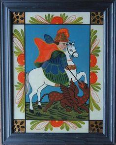 Der Heilige Georg - Hinterglasbild des 20.Jahrhunderts | eBay