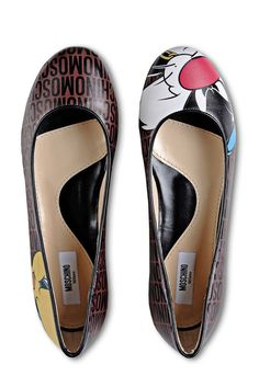 Moschino Looney Tunes Sylvester Tweety ballet flats
