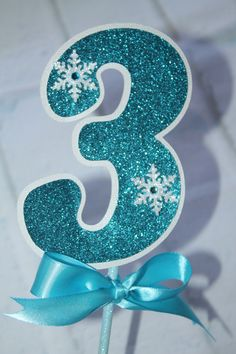 Frozen Birthday Party Number Snowflake Wands by JoSeasonsCrafts