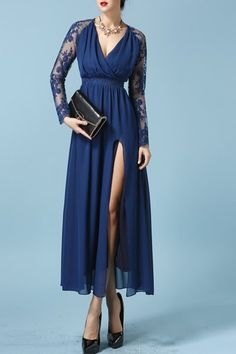 Sexy Plunging Neck Long Sleeve See-Through High Slit Chiffon Dress For Women