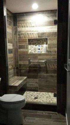 Kennewick, WA Bathroom Remodel Custom walk-in shower with wood plank look tile walls and natural stone floor. Warwick Design, LLC. by natalie-w