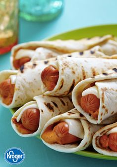 Keep it kid-friendly at lunchtime this weekend with these Chipotle Hot Dog Roll-Ups from Inspired Gathering. This simple recipe requires only a few things to be made great—tortillas, salsa, cheese, and hot dogs!