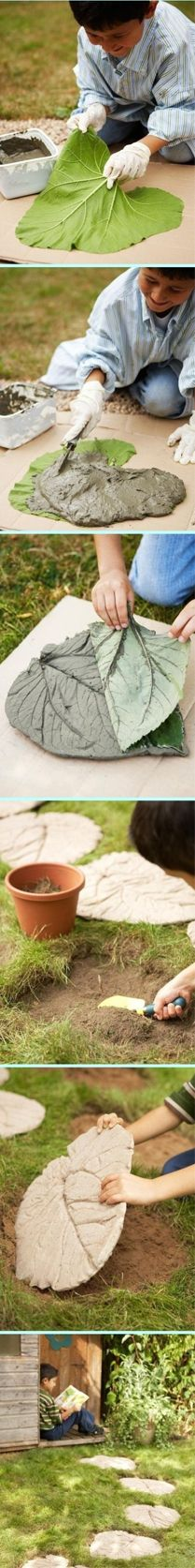 Leaf stepping stones, great outdoor project to do with kids!