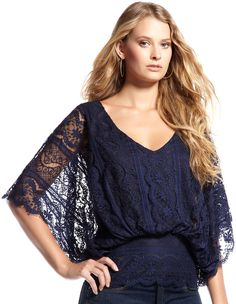Beyond Vintage Vneck Batwing Lace Top Cusp Most Loved in Blue (navy)