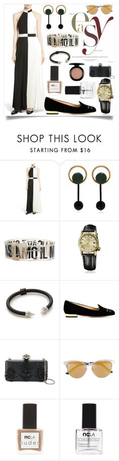 """Pleated Maxi Dress"" by camry-brynn ❤ liked on Polyvore featuring Ted Baker, Marni, Moschino, March LA.B, Vita Fede, Charlotte Olympia, Alexander McQueen, Gucci, ncLA and MAC Cosmetics"