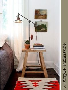 Vintage steel bedside lamp on rustic stool