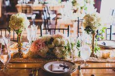 Blush and white centerpiece | A Romantic Secret Garden Inspired Wedding