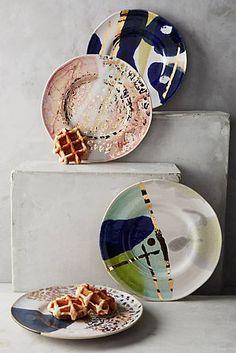 Gold Accent Dessert Plate