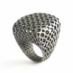I wonder if you could create a hollow-form polymer clay ring? Would ot be durable enough? mocoloco.com, odyssee ring collection by monomer