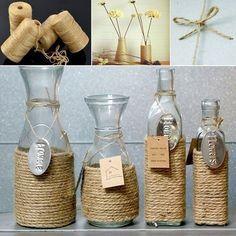 Find great deals for Jute Twine Natural Sisal Rope Rustic Tag Wrap Wedding Decor Craft Rope. Diy Bottle, Wine Bottle Crafts, Mason Jar Crafts, Twine Wine Bottles, Wine Corks, Diy Home Crafts, Decor Crafts, Crafts To Make, Nature Crafts