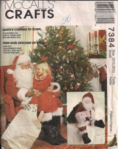 1994 Sewing Pattern SANTA Christmas Costume with Doll by HoneymoonBus, $8.99