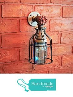 Industrial Wall Sconce Pipe Lighting W/ Blue Turquoise Mason Jar For  Kitchen, Bathroom Or