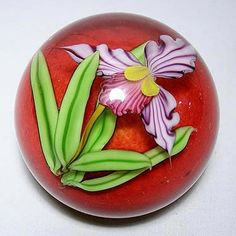Violet Orchid Paperweight Red Interior by Mayauel Ward