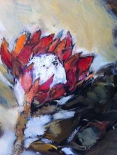 Red protea by Liesel Brune Tea Bag Art, Painting Flowers, Oil On Canvas, Floral, Red, Painted Canvas, Flowers, Flower, Flower Drawings