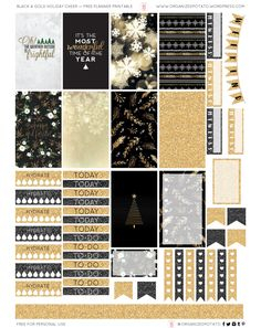 Free Printable Black & Gold Planner Stickers From Organized Potato #planner #classichappyplanner #happyplanner #plannerprintable #printables #freeprintables #freeplannerprintables #organizedpotato #erincondren #travelersnotebook #bujo #bulletjournal #bulletjournalideas #bulletjournalinspo #christmas #blackandgold #holidaycheer #christmasspirit #snow #glitter #gold #christmastree #newyearseve #newyear #happynewyear