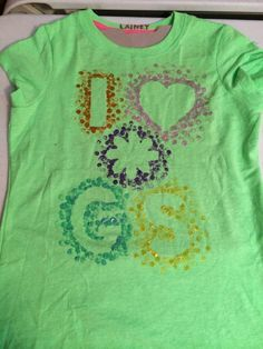This was fun and easy to do with our Daisy Troop!  Stencils taped to shirt, fabric paints and pencil erasers.  Super easy.