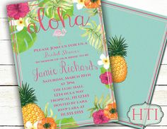 Luau Invitation-Luau Bridal Shower-Hawaii by Hottomatoink2 on Etsy