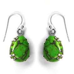 Natural Green Copper Turquoise sterling Silver Earring