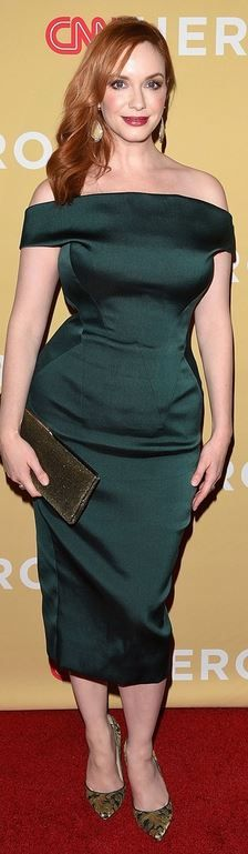Who made  Christina Hendricks' green dress and pumps that she wore in New York?