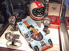 Vintage Heuer Display, courtesy of http://artomatique.net.  Vintage Porsche at it's finest. Steve McQueen style.