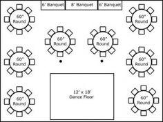 30′ x 40′ w/ Round Tables, Buffet & Dance Floor