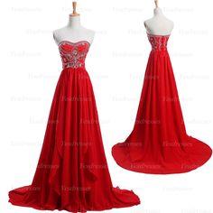 long prom dress, red prom dress, elegant prom dress, cheap prom dress, unique prom dress, chiffon prom dress, evening dress, PD15238